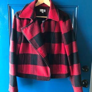The Loft Buffalo plaid zip pea coat